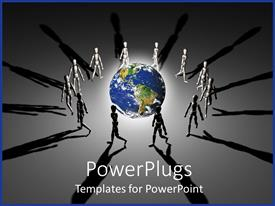PowerPlugs: PowerPoint template with group of figures walking in circles around brightly lit planet Earth