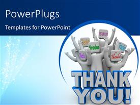 PowerPlugs: PowerPoint template with a group of figures with the word thank you