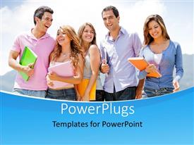 PowerPlugs: PowerPoint template with a group of five students holding multi colored folders