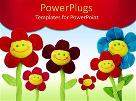 PowerPoint template displaying group of flower with smiling smiley faces on red and green background