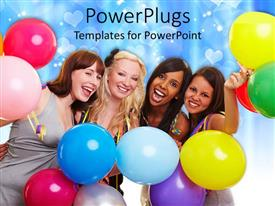 PowerPlugs: PowerPoint template with a group of friends celebrating with bluish background