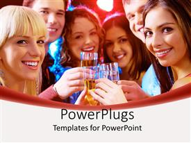 PowerPlugs: PowerPoint template with a group of friends drinking together in a celebration mood
