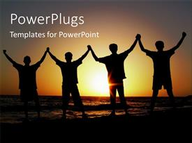 PowerPlugs: PowerPoint template with a group of friends happy on the beach with sunset in background