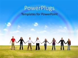 PowerPlugs: PowerPoint template with group of friends holding hands in a park with nature