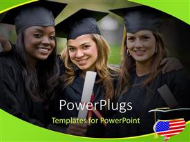 PowerPlugs: PowerPoint template with group of graduation girls looking very happy