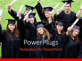 PowerPlugs: PowerPoint template with a group of graduates who are happy