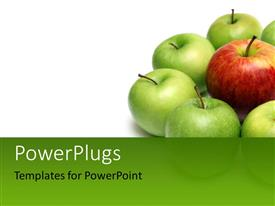 PowerPlugs: PowerPoint template with group of green apples arranged around red apple