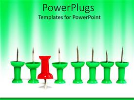 PowerPlugs: PowerPoint template with group of green push pins with one red push pin inverted