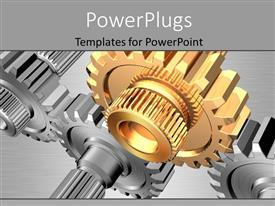 PowerPlugs: PowerPoint template with group of grey gears with one golden gear over grey background