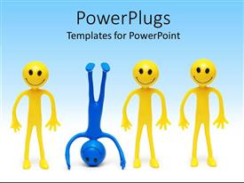 PowerPlugs: PowerPoint template with a group of happy figures with a naughty one