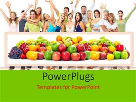 PowerPlugs: PowerPoint template with healthy living with fresh fruits and happy people smiling
