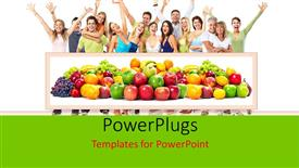 PowerPoint template displaying healthy living with fresh fruits and happy people smiling