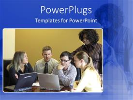 PowerPlugs: PowerPoint template with group having discussion all focused on laptop screen
