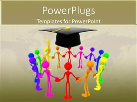 PowerPlugs: PowerPoint template with group holding hands together for success graduation every color