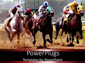 PowerPlugs: PowerPoint template with a group of horse riders racing with each other