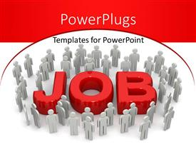 PowerPlugs: PowerPoint template with group of identical gray figures surround three dimensional red word Job