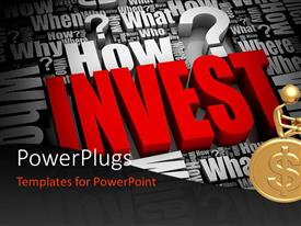 PowerPlugs: PowerPoint template with gold plated 3D man sits on gold coin with rendered word INVEST