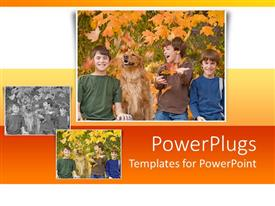 PowerPoint template displaying a group of kids with their dog