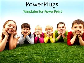 PowerPoint template displaying a group of kids lying on the ground