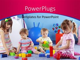 PowerPlugs: PowerPoint template with group of kids playing with constructor on pink and blue background at kids school