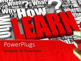 PowerPlugs: PowerPoint template with lots of 3D words and characters with a distinct red text that spells out the word 'learn'