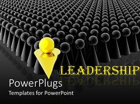 PowerPlugs: PowerPoint template with a group of look alike figures with a golden figure in front as a leader