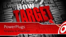 PowerPoint template displaying 3D rendering of marketing terms with red target stuck in bulls eye