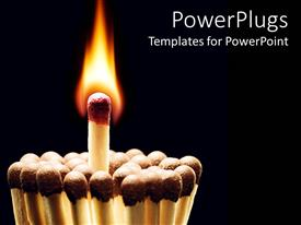 PowerPlugs: PowerPoint template with group of matches standing together with burning match in middle of other matches