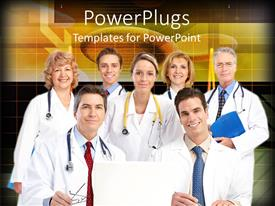 PowerPlugs: PowerPoint template with group of medical doctors smiling with stethoscope on shoulder