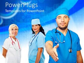 PowerPoint template displaying a group of medical people shaking hand