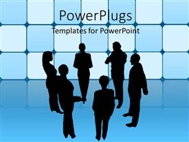 PowerPlugs: PowerPoint template with a group meeting with boxes in the background