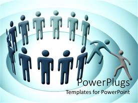 PowerPlugs: PowerPoint template with a group of people along with a person trying to being in one more person