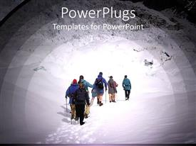 PowerPlugs: PowerPoint template with a group of people climbing a mountain