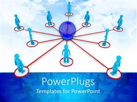 PowerPlugs: PowerPoint template with a group of people connected to each other with the help of networking