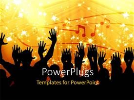 PowerPlugs: PowerPoint template with a group of people dancing with music signs