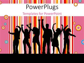 PowerPoint template displaying a group of people dancing together with multi colored rings and lines in the background