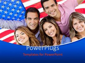 PowerPoint template displaying group of people depicting youth of nation with the USA flag