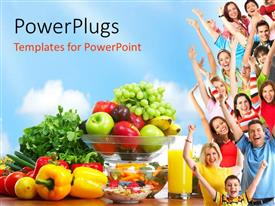 PowerPlugs: PowerPoint template with group of people with fresh fruits and vegetables depicting healthy lifestyle