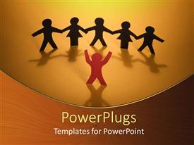 PowerPlugs: PowerPoint template with group of people with hands joined together being led by conductor