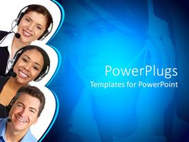 PowerPlugs: PowerPoint template with a group of people with headsets and their beautiful smiles