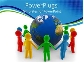 PowerPlugs: PowerPoint template with a group of people holding their hands for peace and surrounding the Earth
