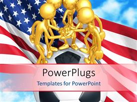 PowerPlugs: PowerPoint template with a group of people holding the hands together with American flag in background