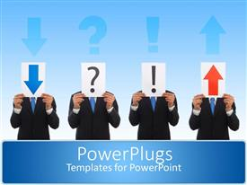 PowerPlugs: PowerPoint template with a group of people holding various signs