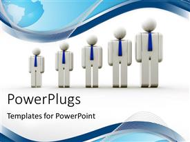 PowerPlugs: PowerPoint template with group of people icons showing growth with blue curves and globe