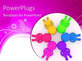 PowerPlugs: PowerPoint template with group of people making circle with their heads together, abstract design