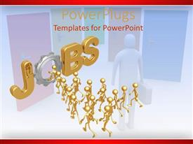 PowerPlugs: PowerPoint template with a group of people running for jobs