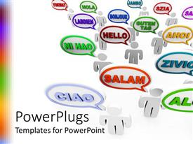 PowerPlugs: PowerPoint template with group of people saying hello in many different languages