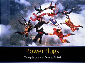 PowerPlugs: PowerPoint template with group of people sky diving in delightful formation