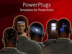 PowerPlugs: PowerPoint template with a group of people with technology in their minds