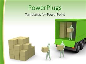 PowerPlugs: PowerPoint template with a group of people transferring good from the vehicle to another place
